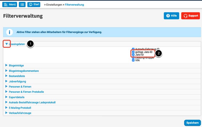 Filterverwaltung   Autrado Backend   Einstellungen >> Filterverwaltung