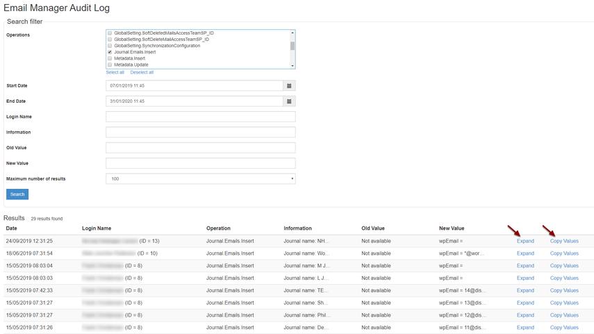 Email Manager Audit Log - Google Chrome