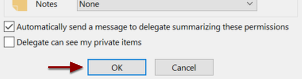 Automatically send a message to delegate summarizing these permissions