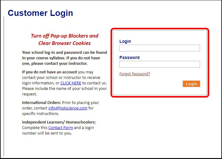 Hands-On Labs, Inc.: Customer Login - Google Chrome