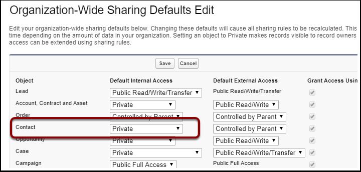 Sharing Settings | Salesforce - Google Chrome