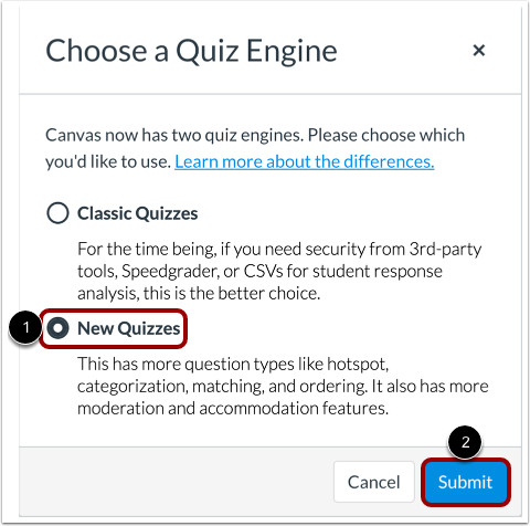 Create New Quiz Assessment