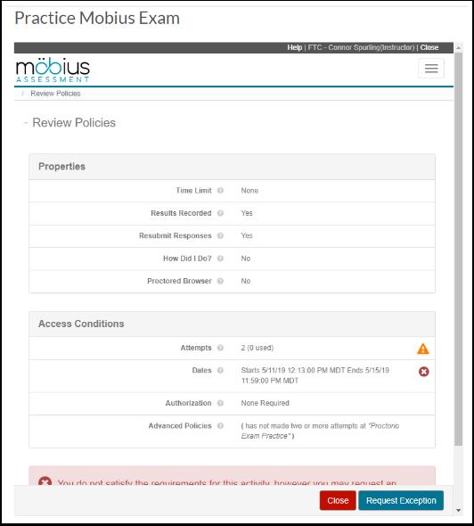 Practice Mobius Exam - Google Chrome