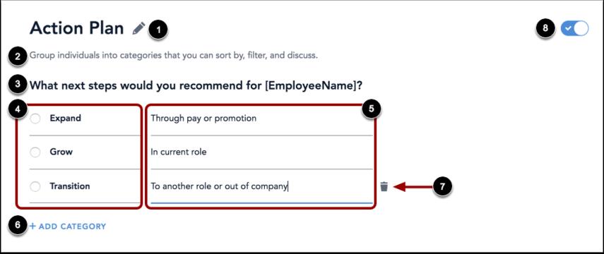 Action plan customization form