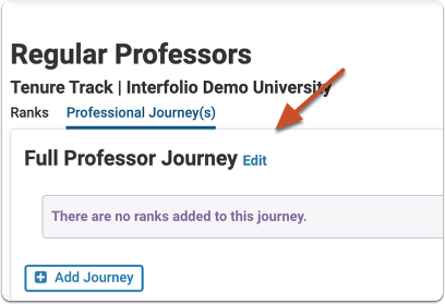 """Click """"Edit"""" next to the name of the Professional Journey"""