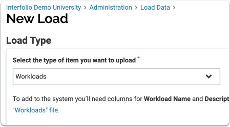 select workloads from dropdown list