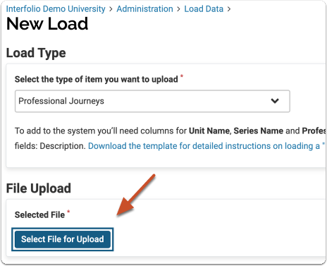 save as csv and  select file for upload