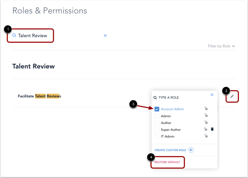 Roles and Permissions page