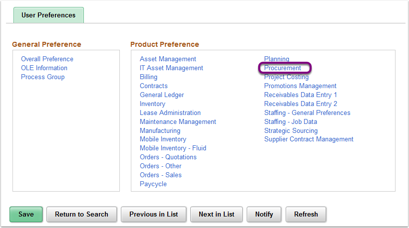 Product Preference - Procurement