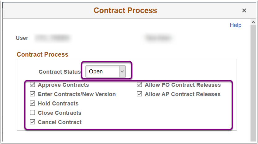 Contract Process Pop-Up Window