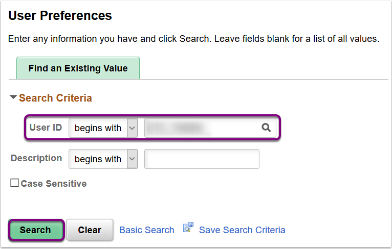 User Preferences - Search Criteria