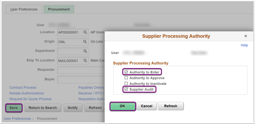 Supplier Processing Authority
