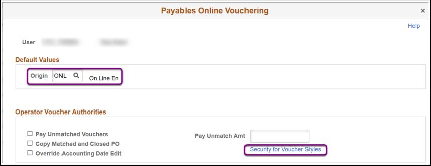 Payables Online Vouchering - Default Values