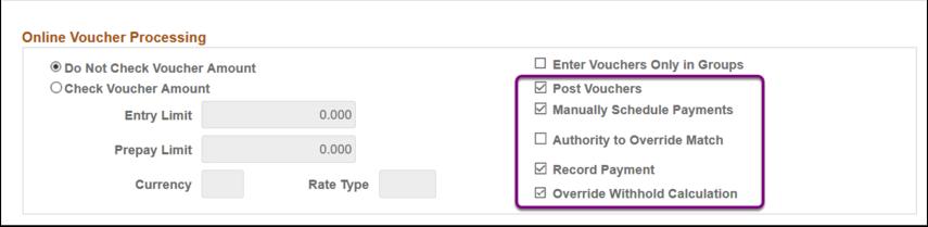 Online Voucher Processing Section