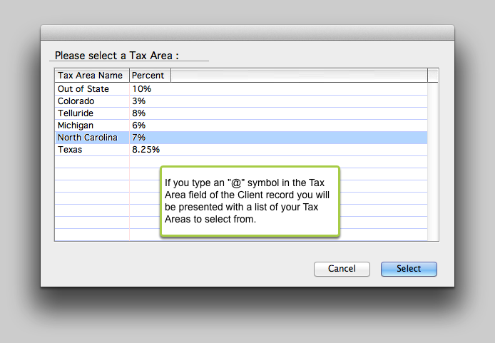 4.1 Select a Tax Area for a Client