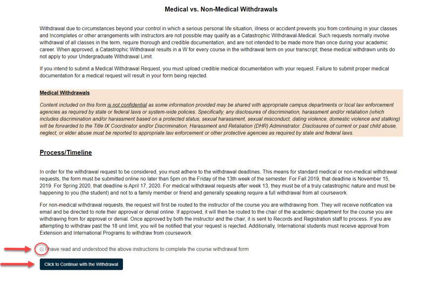 Medical withdrawal verbiage