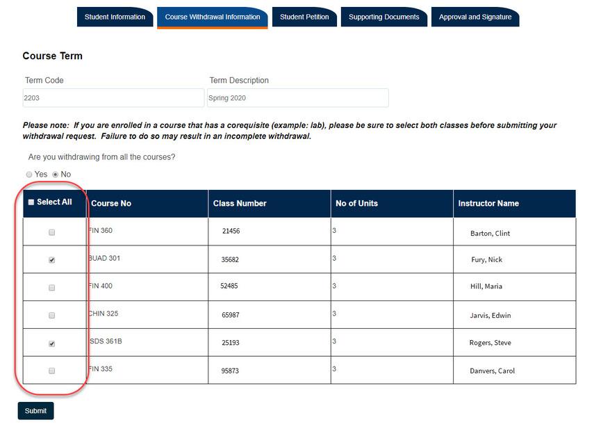 Course selection check boxes