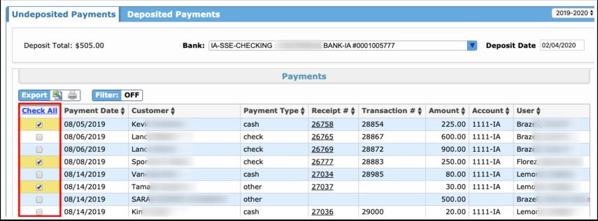 Internal Account Deposits