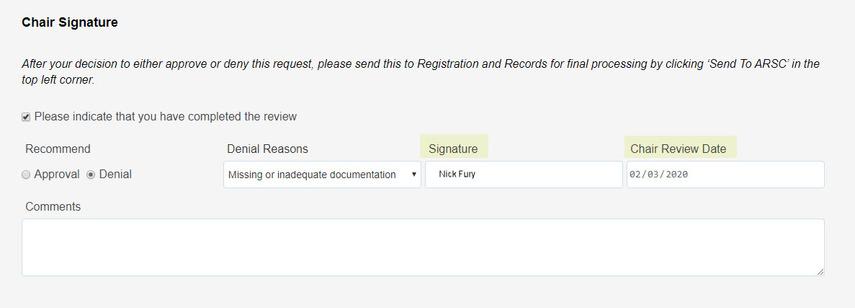 denied request