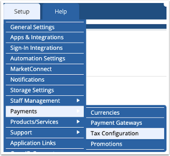 Navigate to Setup > Payments > Tax Configuration