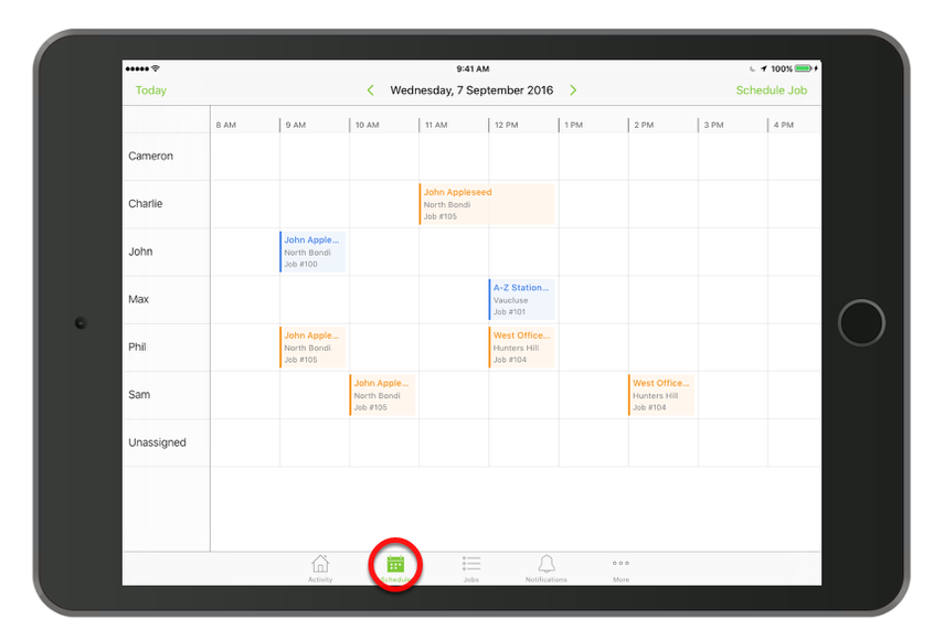 Tap Schedule to see all your staff members' bookings