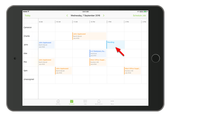 To quickly schedule a job, tap and hold on an available date/time slot for a staff member