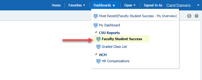 Arrow pointing to Faculty Student Success option