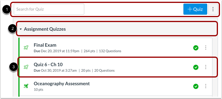 View Quizzes Index Page