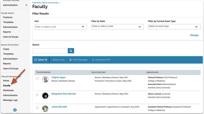 View your new uploaded Faculty Profiles