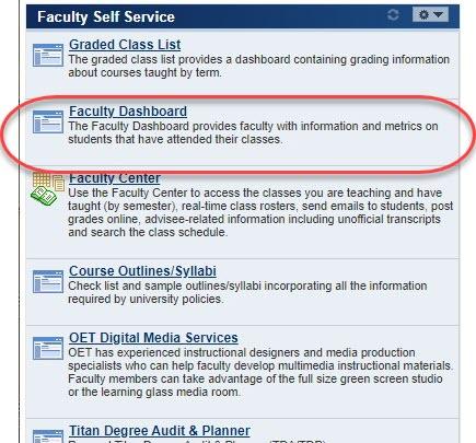 Circle highlighting Faculty Dashboard link