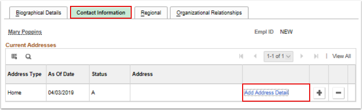 Contact Information tab current addresses
