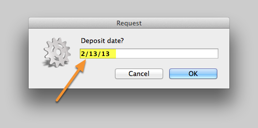 Enter the Deposit (or Check) Date.