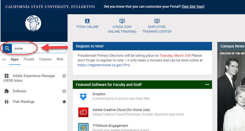 CSUF portal search