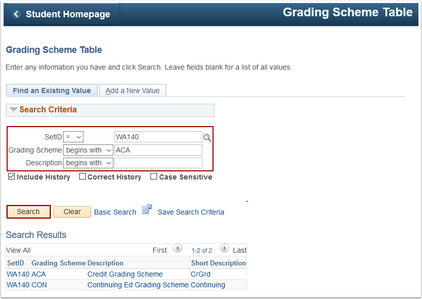 Grading Scheme Table Search Criteria page