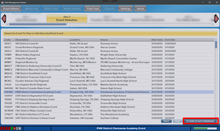 Event Database Creation in Progress