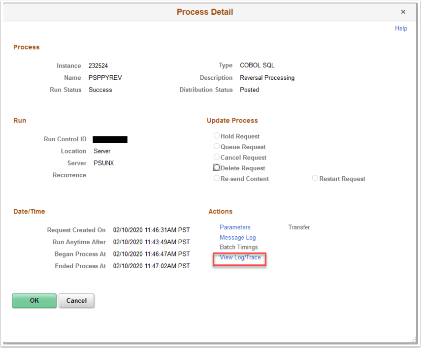 Process Detail page with View Log/Trace link