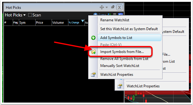 5. Select Import Symbols from File...