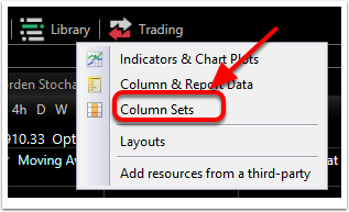2. Left click on Columns Sets.