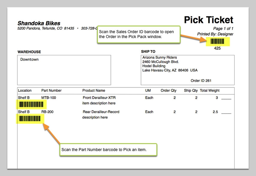 Pick Ticket Custom Form with Barcodes.
