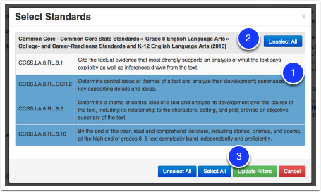 Modifying the standards you are searching for: