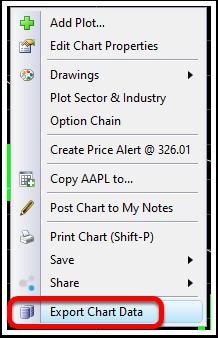 2. Select Export Chart Data