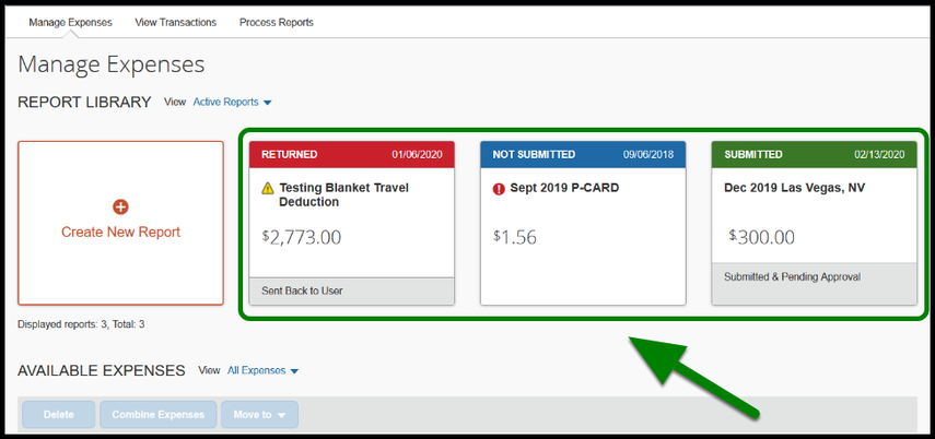 Green highlight indicating status of an expense report.
