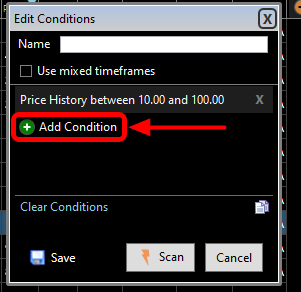 6. To add the next condition (Average Volume Greater than 500,000 shares per day) click on + Add Condition.