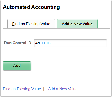 Automated Accounting - Add a New Value tab