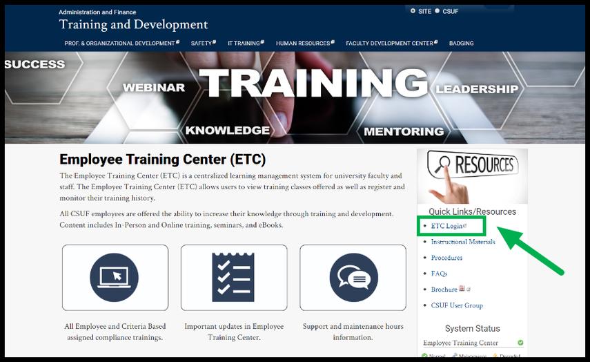 ETC homepage