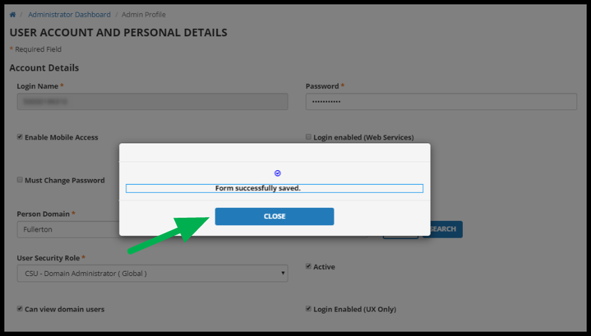 Form successfulyl saved message