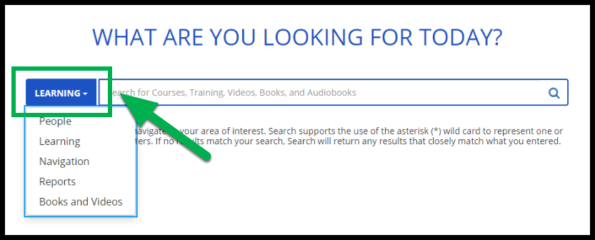 Green arrow pointing to Learning button on Search page.