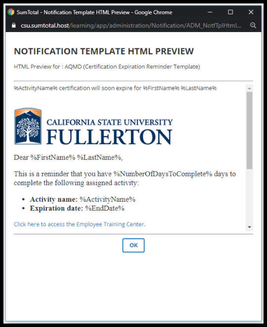 Notification Template HTML Preview