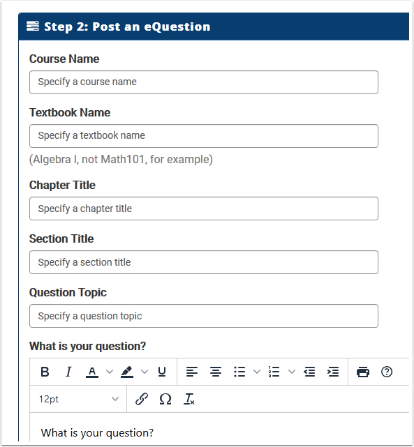 Post and eQuestion section detail
