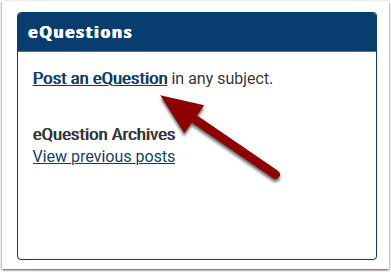 eQuestions area with eQuestion link highlighted